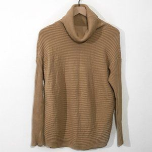 Ribbed Stretch Relaxed Pullover Turtleneck Sweater